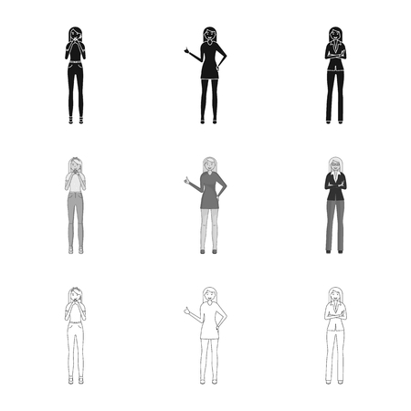 Vector illustration of posture and mood symbol. Set of posture and female stock symbol for web.