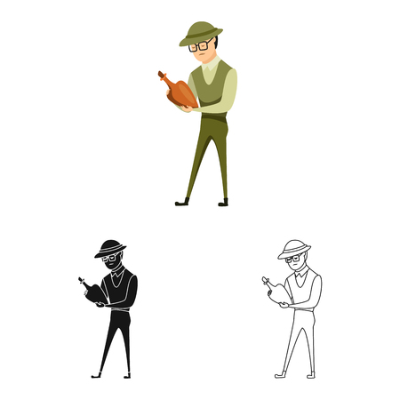 Vector design of archaeologist  and human logo. Set of archaeologist  and seeker  stock symbol for web. Vettoriali