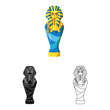 Vector illustration of sarcophagus and pharaoh sign. Collection of sarcophagus and tomb stock symbol for web.