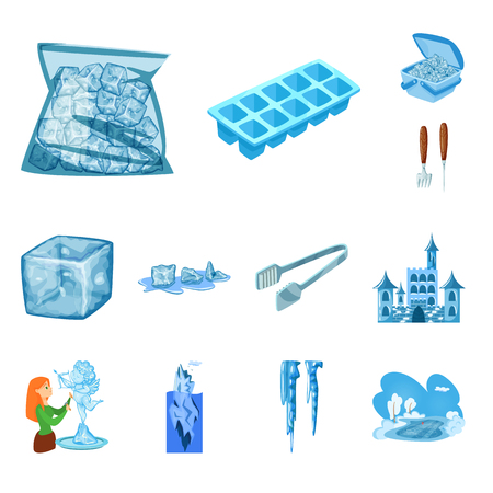 Isolated object of frost and water  sign. Collection of frost and wet  vector icon for stock.
