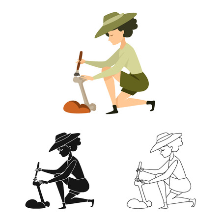 Vector illustration of archaeologist  and girl logo. Set of archaeologist  and pit vector icon for stock.