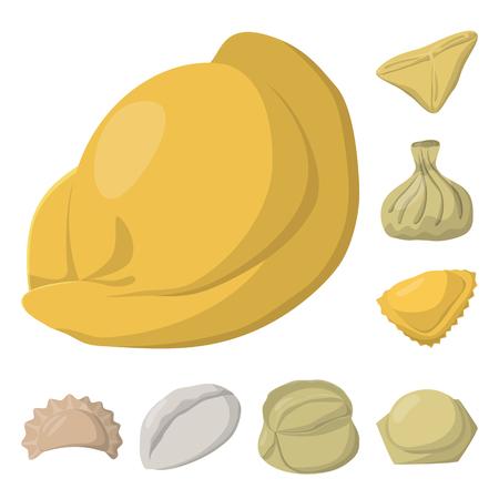 Vector design of dumplings and food symbol. Collection of dumplings and stuffed stock symbol for web.