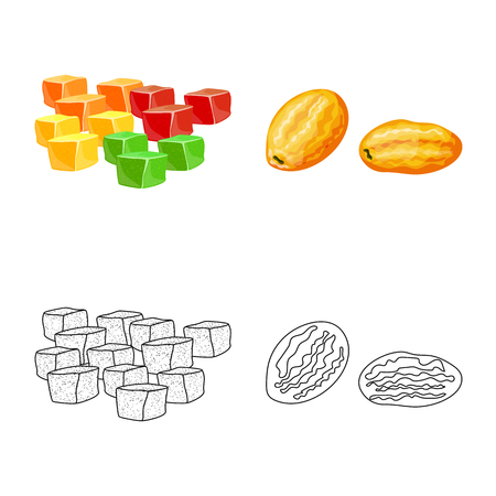 Vector design of food and raw icon. Set of food and nature stock symbol for web.