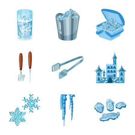 Vector illustration of frost and water  sign. Set of frost and wet  stock symbol for web.