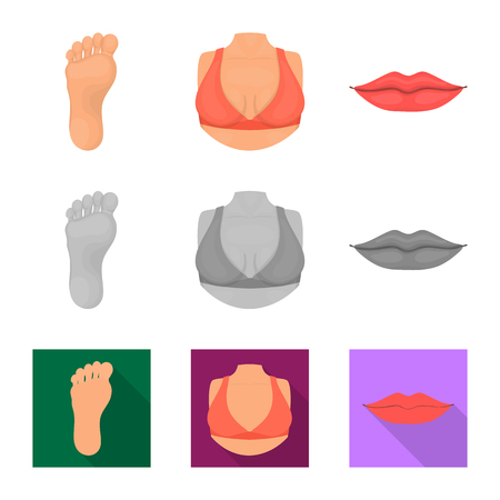 Isolated object of body and part logo. Collection of body and anatomy vector icon for stock. Illustration