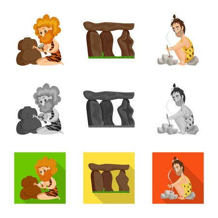 Vector illustration of evolution  and prehistory symbol. Collection of evolution  and development  stock vector illustration.