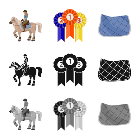 Vector design of equipment and riding sign. Set of equipment and competition stock vector illustration. Ilustrace