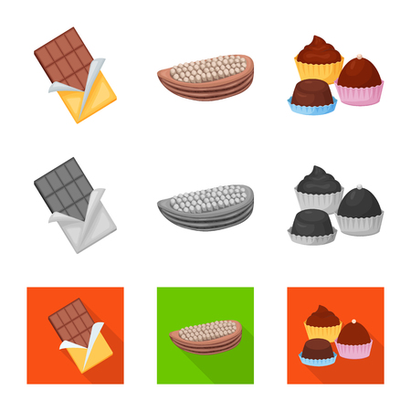 Vector design of food and yummy icon. Set of food and brown   stock vector illustration.