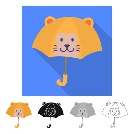 Isolated object of parasol and children sign. Collection of parasol and colorful vector icon for stock. Vektoros illusztráció