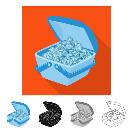 Isolated object of fridge and ice symbol. Set of fridge and cube vector icon for stock.