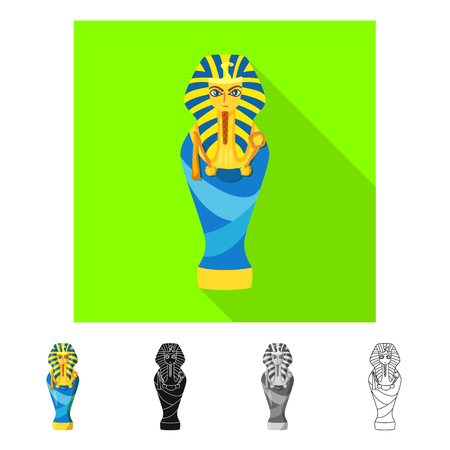 Vector illustration of sarcophagus and pharaoh sign. Set of sarcophagus and tomb vector icon for stock. Иллюстрация