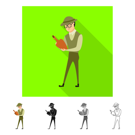 Vector design of archaeologist  and human symbol. Set of archaeologist  and seeker  stock symbol for web.