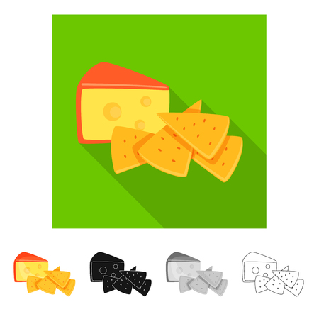 Isolated object of cracker and appetizer  sign. Collection of cracker and lactic vector icon for stock. Иллюстрация