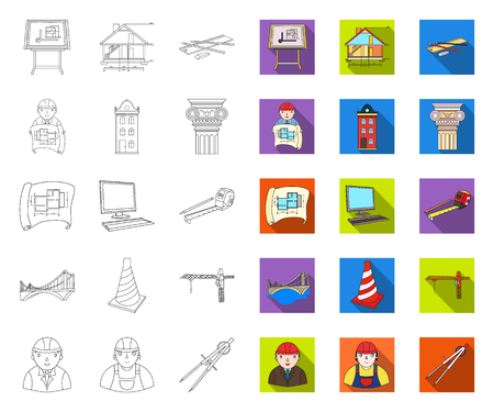 Architecture and construction outline,flat icons in set collection for design. Architect and equipment vector symbol stock web illustration.