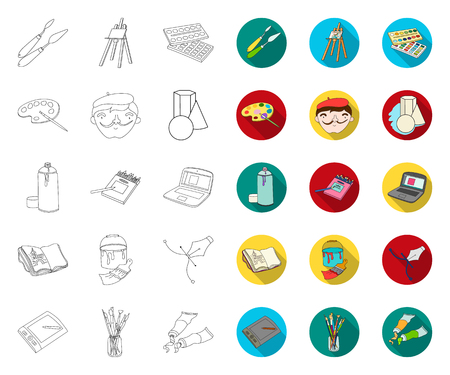 Painter and drawing outline,flat icons in set collection for design. Artistic accessories vector symbol stock web illustration.