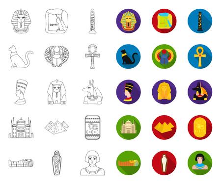 Ancient Egypt outline,flat icons in set collection for design. The reign of Pharaoh vector symbol stock web illustration. Векторная Иллюстрация