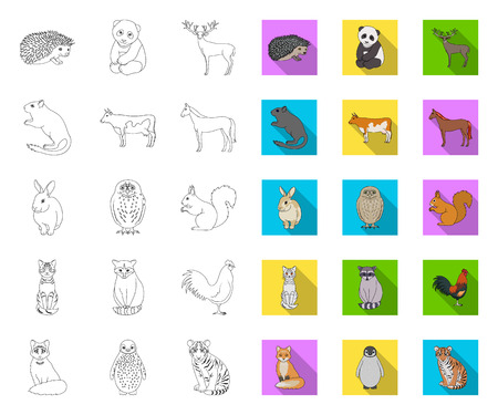 Realistic animals outline,flat icons in set collection for design. Wild and domestic animals vector symbol stock web illustration.
