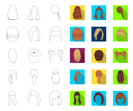 Female hairstyle outline,flat icons in set collection for design. Stylish haircut vector symbol stock web illustration. Иллюстрация