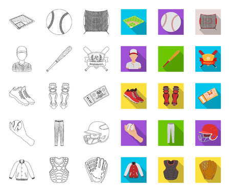 Baseball and attributes outline,flat icons in set collection for design.Baseball player and equipment vector symbol stock  illustration.