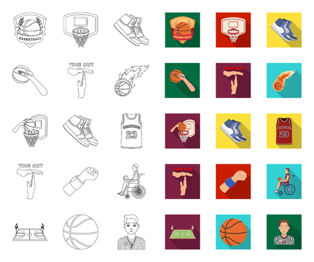 Basketball and attributes outline,flat icons in set collection for design.Basketball player and equipment vector symbol stock  illustration.