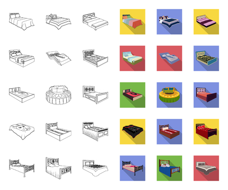 Different beds outline,flat icons in set collection for design. Furniture for sleeping vector isometric symbol stock web illustration.