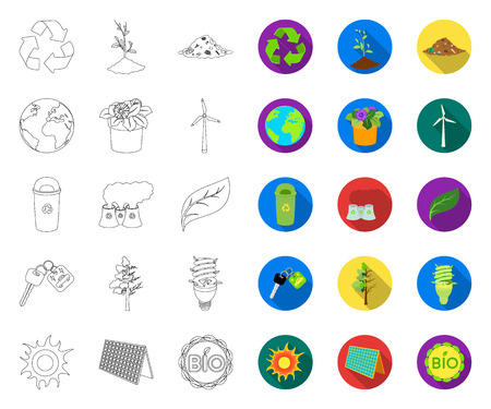 Bio and ecology outline,flat icons in set collection for design. An ecologically pure product vector symbol stock web illustration. Stock Illustratie