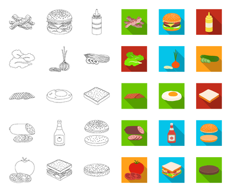 Burger and ingredients outline,flat icons in set collection for design. Burger cooking vector symbol stock web illustration.