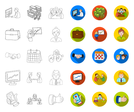 Business Conference And Negotiations outline,flat icons in set collection for design.Business and training vector symbol stock web illustration.