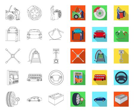 Coche, ascensor, bomba y otro equipo de contorno, planos iconos de colección set de diseño. Web del ejemplo de la acción del símbolo del vector de la estación de mantenimiento del coche.