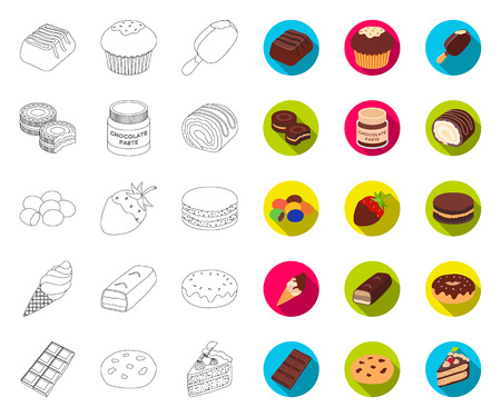 Chocolate Dessert outline,flat icons in set collection for design. Chocolate and Sweets vector symbol stock web illustration.