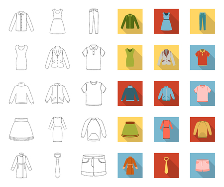 Different kinds of clothes outline,flat icons in set collection for design. Clothes and style vector symbol stock web illustration. Vettoriali