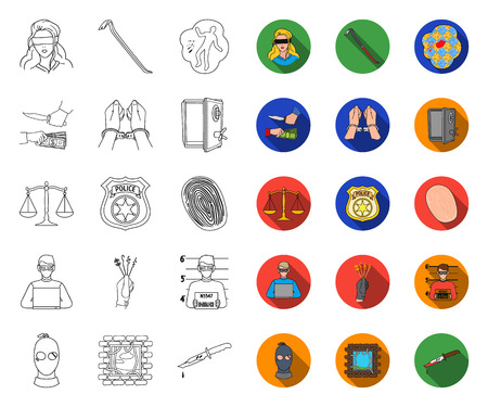 Crime and Punishment outline,flat icons in set collection for design.Criminal vector symbol stock web illustration.