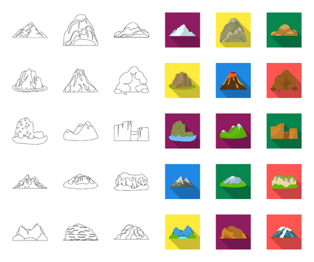 Different mountains outline,flat icons in set collection for design.Mountains and landscape vector symbol stock web illustration.