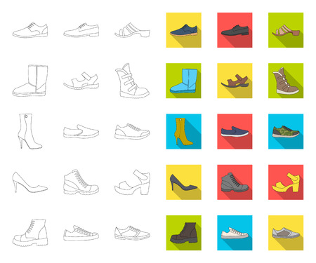 Different shoes outline,flat icons in set collection for design. Mens and womens shoes vector symbol stock web illustration.
