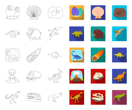 Different dinosaurs outline,flat icons in set collection for design. Prehistoric animal vector symbol stock web illustration. Illustration
