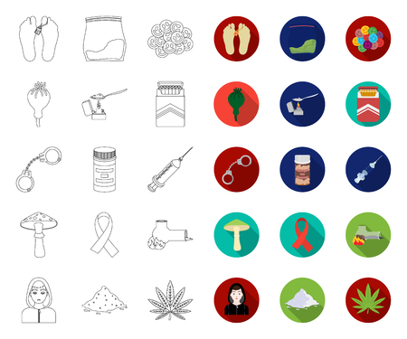 Drug addiction and attributes outline,flat icons in set collection for design. Addict and Drug vector symbol stock web illustration.