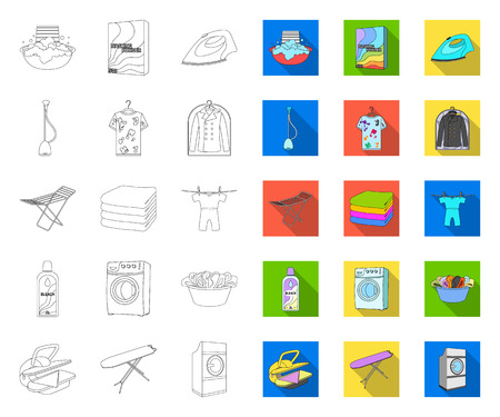 Dry cleaning equipment outline,flat icons in set collection for design. Washing and ironing clothes vector symbol stock web illustration. Banque d'images - 122812994