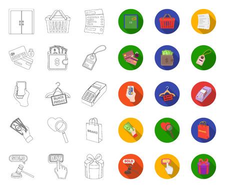 E-commerce, contour d'achat et de vente, icônes plates dans la collection de jeu pour la conception. Commerce et finance symbole vecteur illustration web stock.