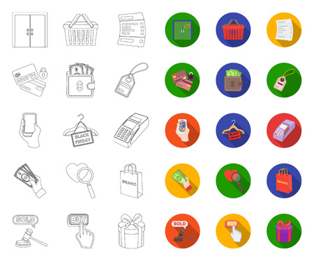 E-commerce, Purchase and sale outline,flat icons in set collection for design. Trade and finance vector symbol stock web illustration. Illustration