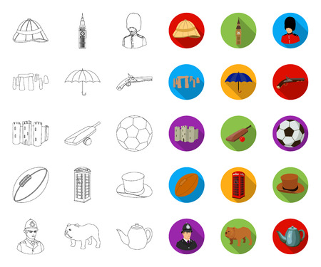England country outline,flat icons in set collection for design.Travel and attractions vector symbol stock web illustration.