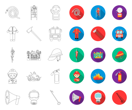 Fire Department outline,flat icons in set collection for design. Firefighters and equipment vector symbol stock web illustration.