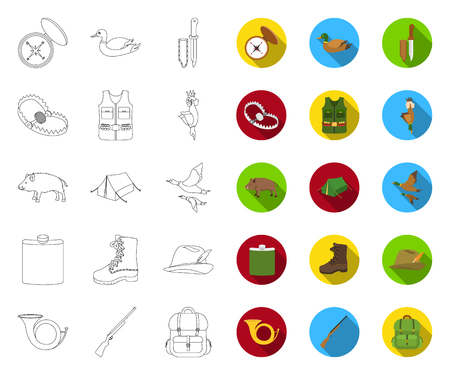 Hunting and trophy outline,flat icons in set collection for design. Hunting and equipment vector symbol stock web illustration.