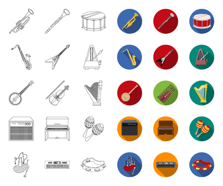 Musical instrument outline,flat icons in set collection for design. String and Wind instrument vector symbol stock web illustration. Illustration