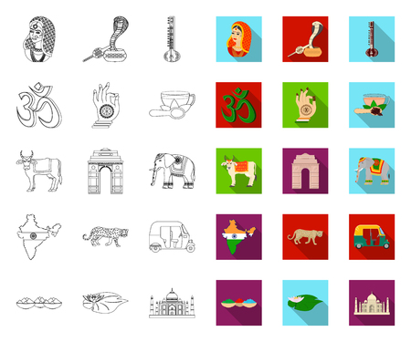 Country India outline,flat icons in set collection for design.India and landmark vector symbol stock web illustration.