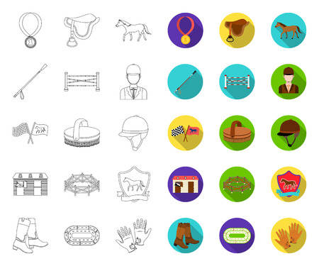 Hippodrome and horse outline,flat icons in set collection for design. Horse Racing and Equipment vector symbol stock web illustration.