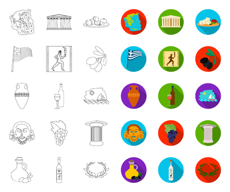 Country Greece outline,flat icons in set collection for design.Greece and landmark vector symbol stock web illustration. Illustration