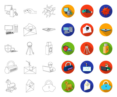 Hacker and hacking outline,flat icons in set collection for design. Hacker and equipment vector symbol stock web illustration.