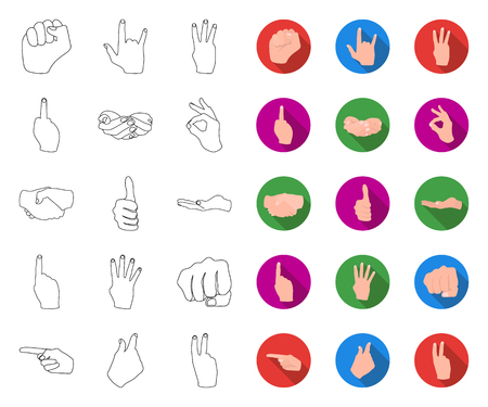 Hand gesture outline,flat icons in set collection for design. Palm and finger vector symbol stock web illustration.