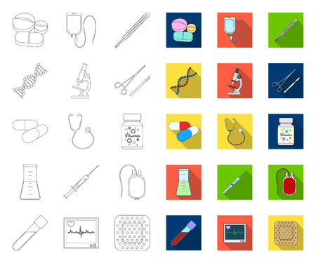 Medicine and treatment outline,flat icons in set collection for design. Medicine and equipment vector symbol stock web illustration.