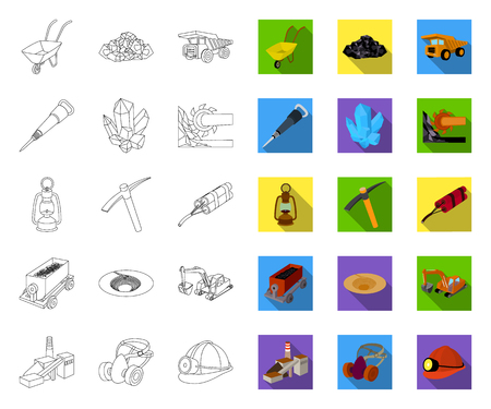 Mining industry outline,flat icons in set collection for design. Equipment and tools vector symbol stock web illustration.